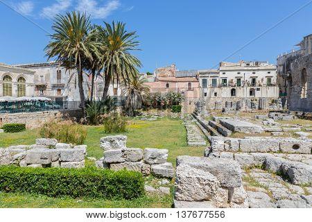 Temple of Apollo ancient Greek monument in Ortigia Syracusa Sicily Italy