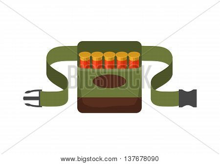 Bandolier on the belt for hunter. Flat vector illustration