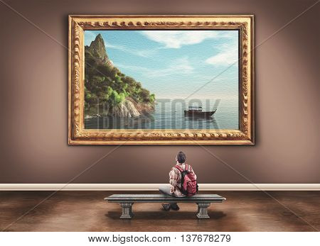Young man with a backpack admiring a beautiful paint of a landscape in a museum