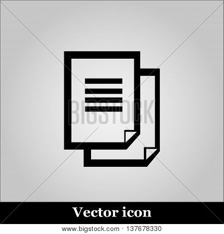 Document icon on grey background, vector illustration