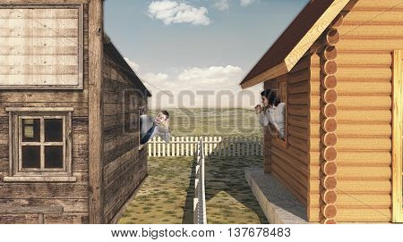 Two young neighbors talking across the fence