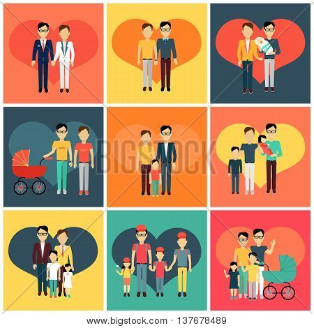 Set of happy family homosexual concept banner design flat style. Young family gay man with a son and daughter and a stroller for a newborn. Father with child happiness lifestyle, vector illustration