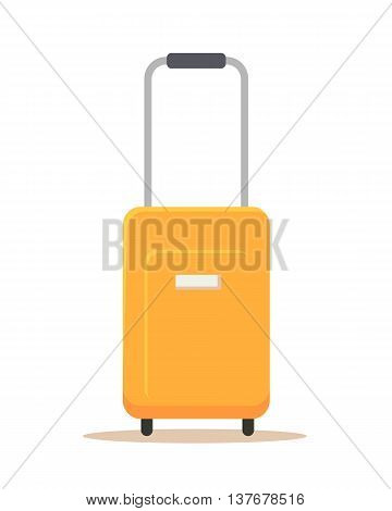 Orange suitcase vector illustration in flat style design. Isolated on white backgroud. Summer vacatoin, travel, jourmey, trip concept. Baggage bag with trolley.