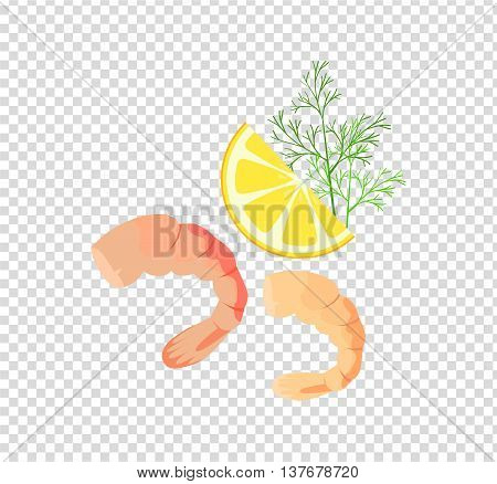 Shrimps patterns in colour and monochrome variants. Seafood concept icons in flat style design. Vector illustration prepared with lemon and herbs sea shrimp.