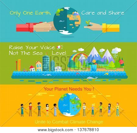 Environment protection concept banners. World environment day vector in flat style design. Taking care of the planet. Earth needs. Monitoring sea levels, global warming, climate change illustration.