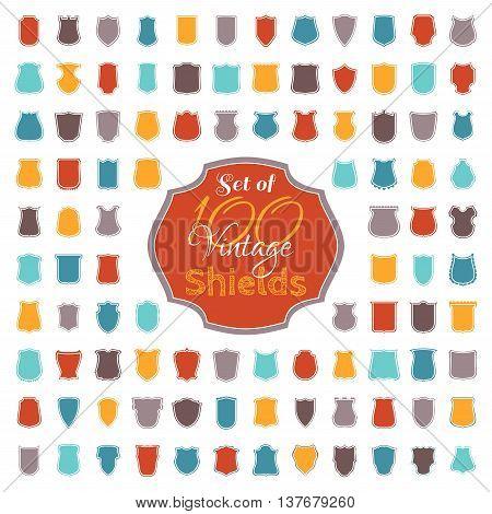 Set Of 100 Colourful Vintage Shields.