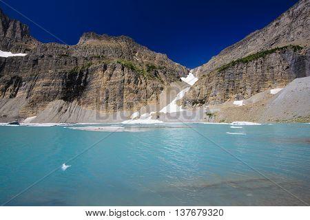 Grinnell Glacier Clear Blue Sky, Glacier National Park, Montana