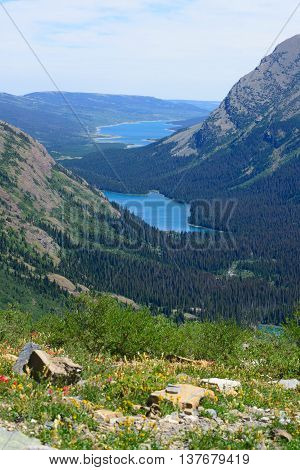 Josephine Lake  And Grinell Lake Over Look From  Grinnell Glacier Trail,  Glacier National Park, Mon