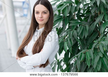 Confident Friendly Business Woman In Office