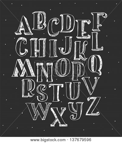 Set of white 3d alphabet on blackboard. Hand drawn vector illustration with hatch and brush. Letters sequence from A to Z good for lettering or decoration. Isolated on black rough dirty font