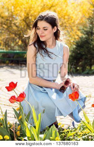 Beautiful Girl In Spring Park