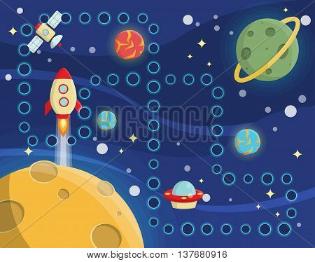 Lovely children activity play placemat rug for space racing competition game with outer space background, lonely planets, stars, space ships and satellite.