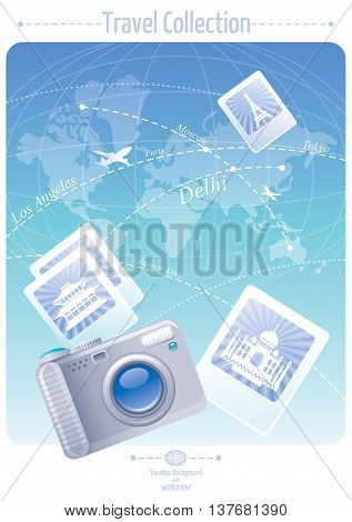 Vacation and travel banner concept design with world map background, photo images with Eiffel Tower, chinese pagoda, Taj Mahal and camera icon. Concept poster for tourism agency, airplane service.