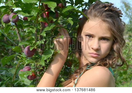 The young beautiful girl with tears plum tree