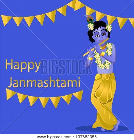 The birth of Krishna, Young Krishna plays the flute vector illustration