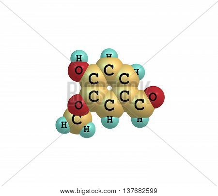 Vanillin is a phenolic aldehyde which is an organic compound with the molecular formula C8H8O3. Its functional groups include aldehyde hydroxyl and ether. It is the primary component of the extract of the vanilla bean. 3d illustration