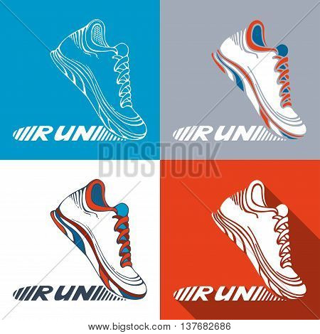 Vector Set Of Running Shoe Symbols.