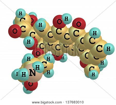 Doxorubicin or Adriamycin also known as hydroxydaunorubicin is a drug used in cancer chemotherapy and derived by chemical semisynthesis from a bacterial species. 3d illustration