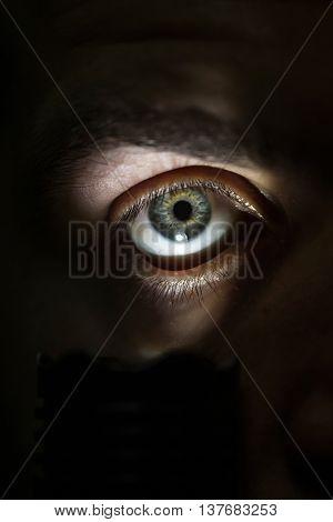 Male Eye With Flashlight