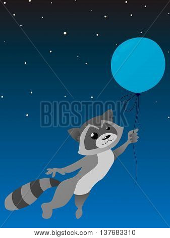 Isolated cute racoon with balloon on a night sky background