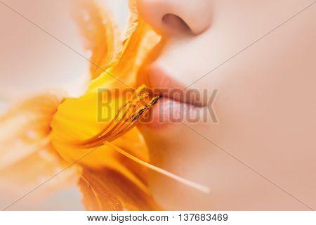 Sensual Lips Kiss Lily Flower