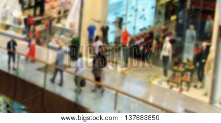 shopping center view from the top inside boutiques and shops people walking and shopping blurred for backgrounds