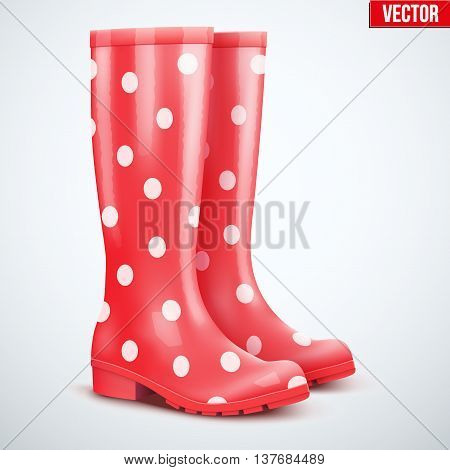 Pair of yellow rubber rain boots. Symbol of garden wok or autumn and weather. Vector illustration Isolated on white background.