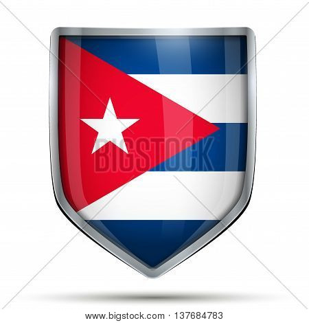Shield with flag Cuba. Editable Vector Illustration isolated on white background.