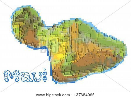 maui abstract map isolated on white background