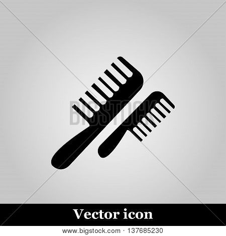 Flat comb icon on grey background, vector illustration
