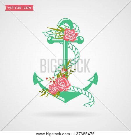 Anchor with rope and flowers. Icon isolated on white background. Sea and romantic themes. Vector illustration.