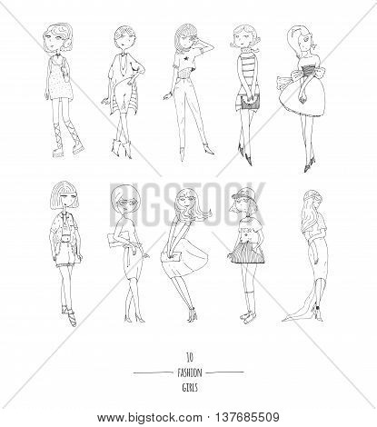 Hand drawn vector set with cute fashion girls in dresses with different hairstyle in evening and day apparel. Isolated on white fun doodle cartoon every cute girl posing in various way smiling.