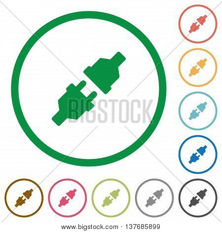Set of Power connectors color round outlined flat icons on white background
