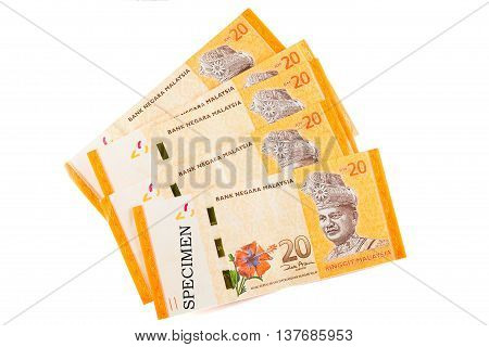 Malaysia currency banknotes which is called Ringgit in white background