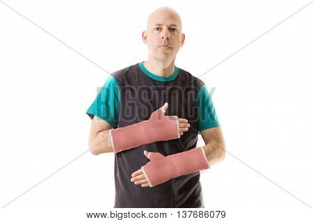 Young Man With Two Red Fiberglass Plaster Arm Casts