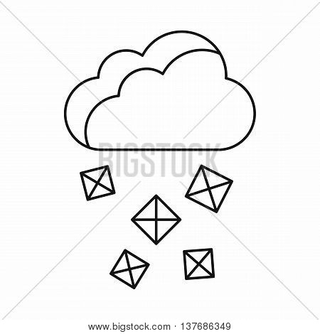 Cloud and hail icon in outline style isolated vector illustration