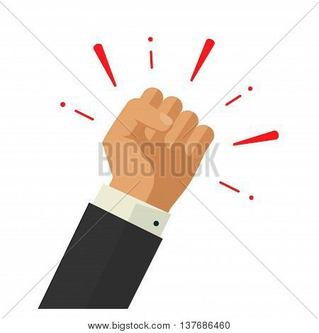 Winner hand up fist vector sign concept, worker hand, employees revolution against, fist acheivment vector concept, freedom revolution, agressive fight symbol