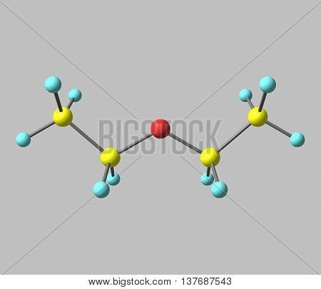 Diethyl ether - ethoxyethane ethyl ether sulfuric ether or ether - is an organic compound. 3d illustration