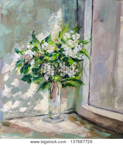 Oil Painting Impressionism style texture painting flower still life painting art painted color image wallpaper and backgrounds canvas artist painting floral pattern jasmine on the window