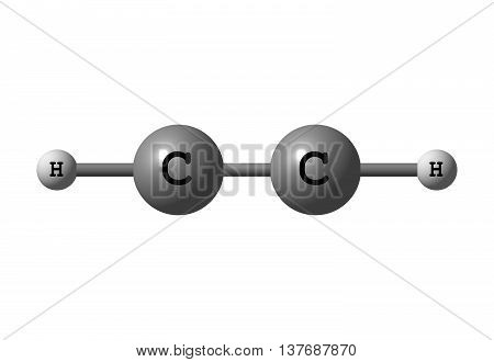 Acetylene or ethyne is the chemical compound with the formula C2H2. It is a hydrocarbon and the simplest alkyne. This colorless gas is widely used as a fuel and a chemical building block. 3d illustration