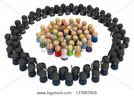 Crowd of small symbolic figures riot police ring 3d illustration horizontal over white isolated