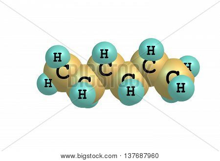 Hexane is an alkane of six carbon atoms with the chemical formula C6H14. Hexanes are significant constituents of gasoline. 3d illustration