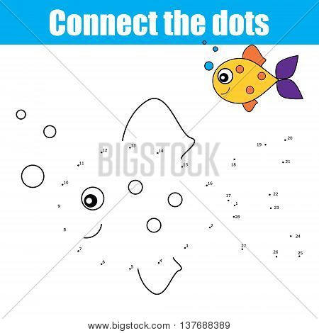 Connect the dots by numbers educational drawing children game. Dot to dot game for kids coloring page. Animal theme