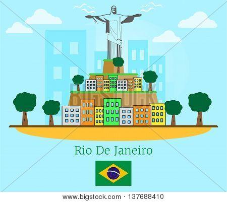 Rio De Janeiro poster with flat style