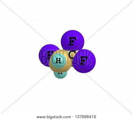 Tetrafluoroethane - R-134a Forane 134a Genetron 134a Florasol 134a - is a haloalkane refrigerant with thermodynamic properties similar to dichlorodifluoromethane. 3d illustration