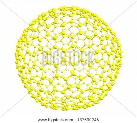 Fullerene molecular model C540 on white background. 3d illustration