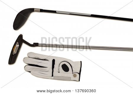 Golf club and glove on isolated white background