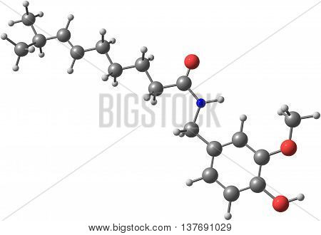 Capsaicin - C18H27NO3 - molecule isolated on white background. 3d illustration
