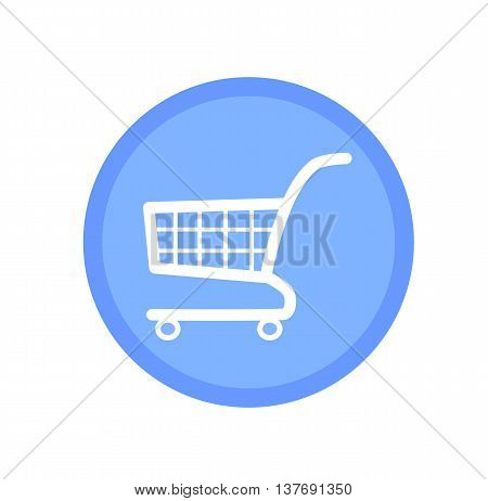 Blue shopping cart icon. Shopping icon. Cart icon.