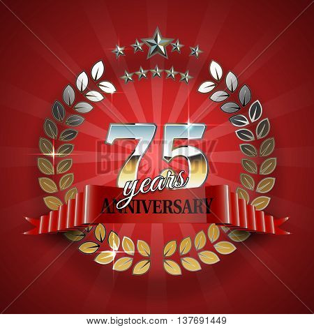 Celebrative Golden Frame for 75th Anniversary. Anniversary Ring with Red Ribbon. Anniversary Festive Celebration Emblem. Vector Illustration for Anniversary Celebration